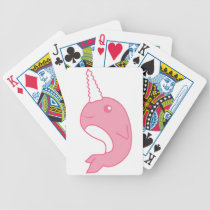 Pink Narwhal Bicycle Playing Cards