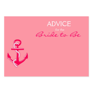 Pink Nautical Advice for the Bride to Be Cards Business Card