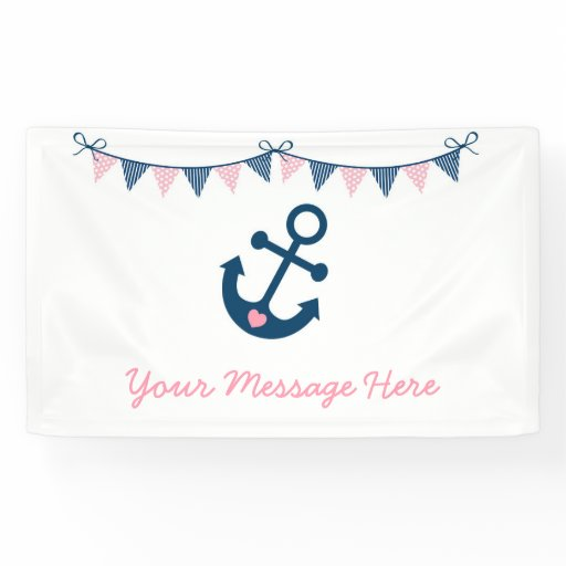 Pink Nautical Anchor Baby Shower Banner