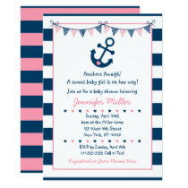 Pink Nautical Anchor Baby Shower Card