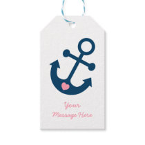 Pink Nautical Anchor Baby Shower Gift Tags