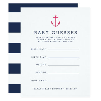 Pink Nautical Anchor Baby Shower Guessing Game Card