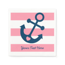 Pink Nautical Anchor Baby Shower Napkin