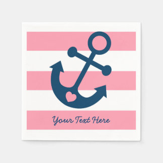 Pink Nautical Anchor Baby Shower Napkin