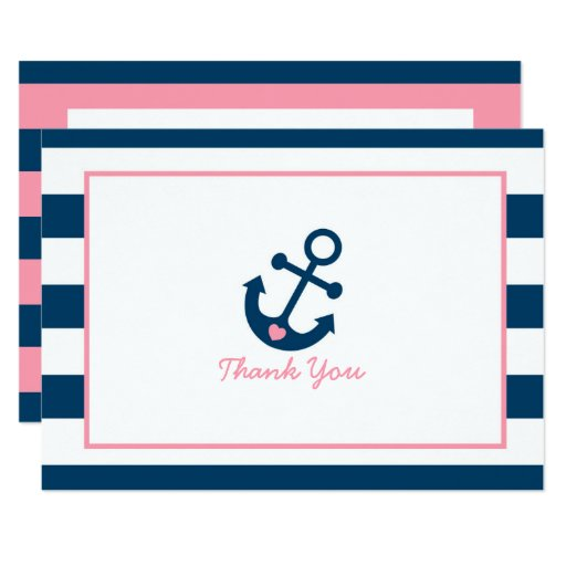 Pink Nautical Anchor Baby Shower Thank You Card