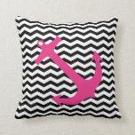 Pink Nautical Anchor & Black Chevron Print Pillow