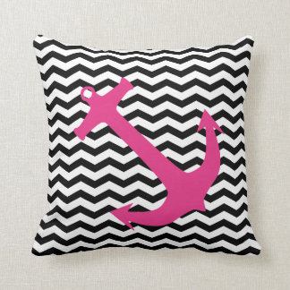 Pink Nautical Anchor & Black Chevron Print Pillow
