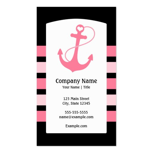 Pink Nautical Anchor Business Cards
