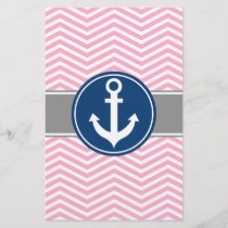 Pink Nautical Anchor Chevron