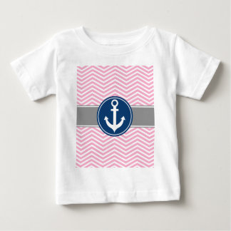 Pink Nautical Anchor Chevron Baby T-Shirt