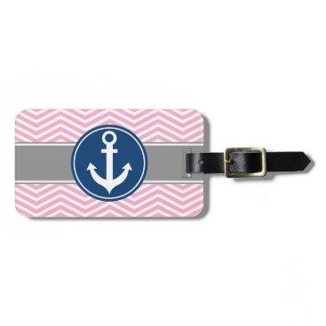 Pink Nautical Anchor Chevron Bag Tag