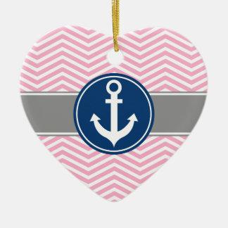 Pink Nautical Anchor Chevron Ceramic Ornament
