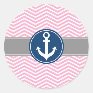Pink Nautical Anchor Chevron Classic Round Sticker