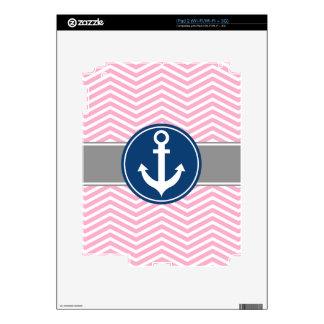 Pink Nautical Anchor Chevron iPad 2 Decals