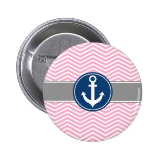 Pink Nautical Anchor Chevron Pinback Button