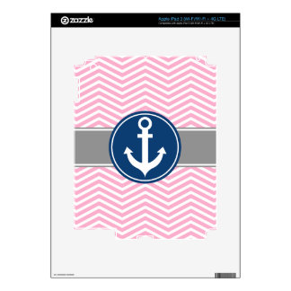 Pink Nautical Anchor Chevron Skins For iPad 3