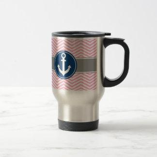 Pink Nautical Anchor Chevron Travel Mug