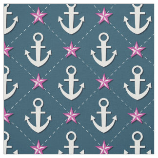 Pink Nautical Anchor Fabric