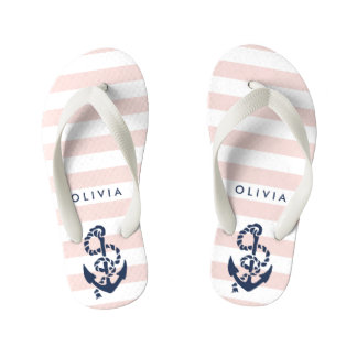 Pink Nautical Anchor Girls Flip Flops