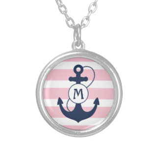 Pink Nautical Anchor Monogram Silver Plated Necklace