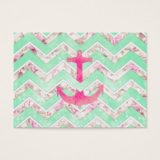 Pink Nautical Anchor Teal Floral Chevron Pattern Business Card