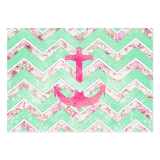 Pink Nautical Anchor Teal Floral Chevron Pattern Business Card Templates