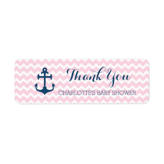 Pink Nautical Baby Shower Favor Labels Zazzle
