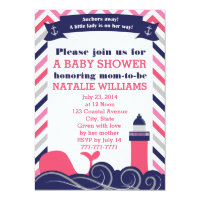 Pink Nautical Baby Shower or Sprinkle Girl Card