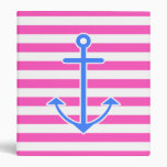 Pink Nautical Blue Anchor 3 Ring Binders