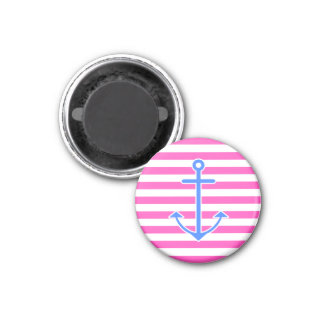 Pink Nautical Blue Anchor Magnet