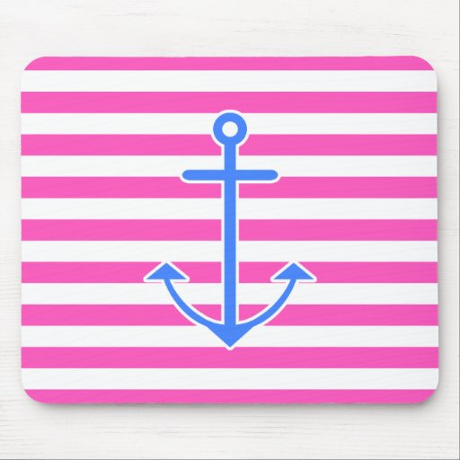 Pink Nautical Blue Anchor Mouse Pad