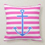 Pink Nautical Blue Anchor Pillow