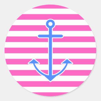 Pink Nautical Blue Anchor Round Sticker