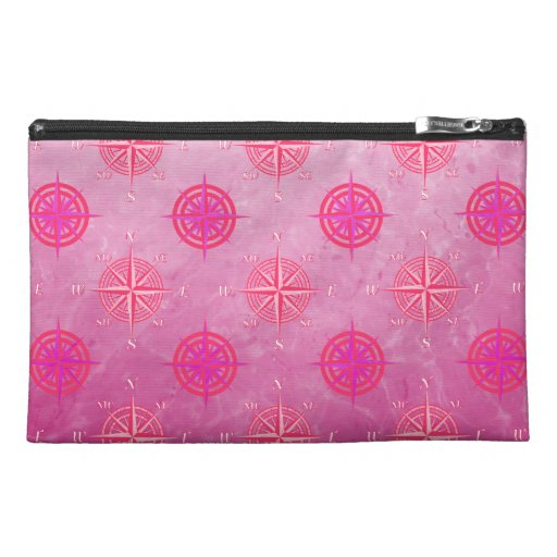 Pink Nautical Compass Rose Travel Accessory Bags