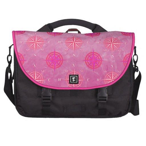 Pink Nautical Compass Rose Computer Bag