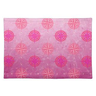 Pink Nautical Compass Rose Placemats