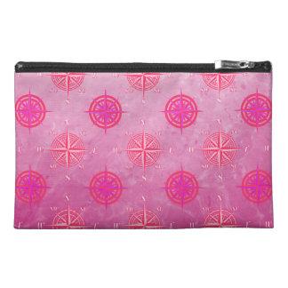 Pink Nautical Compass Rose Travel Accessory Bag