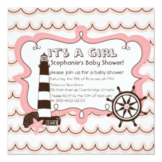 Pink Nautical It's a Girl Baby Shower Invitation