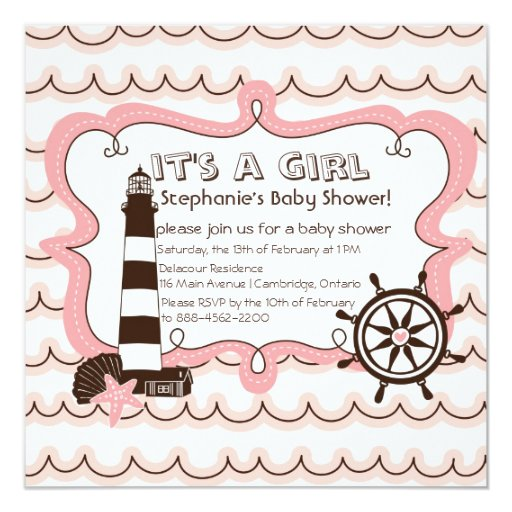 pink nautical it 39 s a girl baby shower invitation zazzle