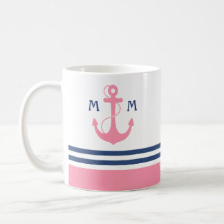 Pink Nautical Monogram Coffee Mug