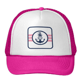 Pink Nautical Monogram with Anchor Trucker Hat