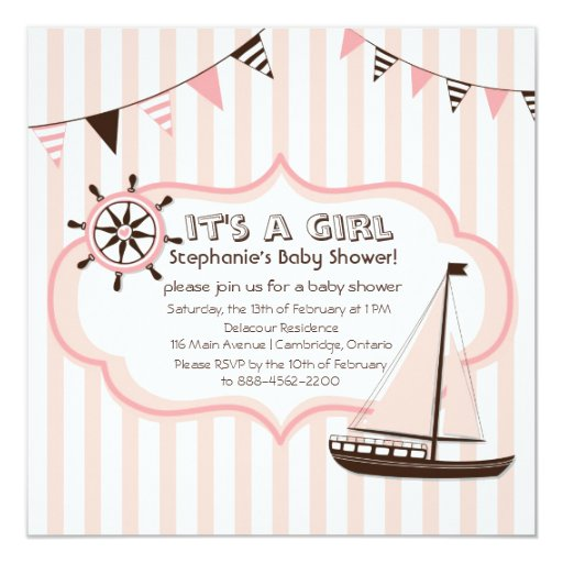 Pink Nautical Party Banner Baby Shower Invitation