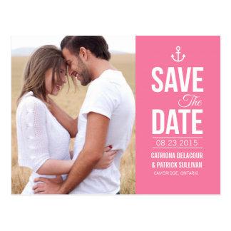 PINK NAUTICAL PHOTO SAVE THE DATE POSTCARD