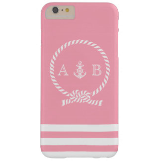 Pink Nautical Rope and Anchor Monogrammed Barely There iPhone 6 Plus Case