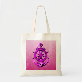 Pink Nautical Ships Wheel And Anchor Canvas Bags