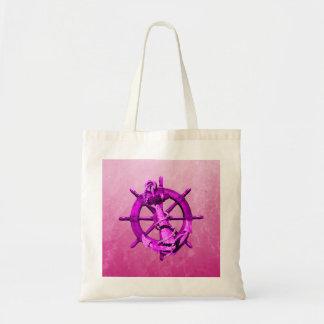 Pink Nautical Ships Wheel And Anchor Canvas Bag