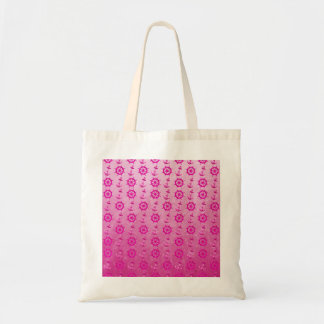 Pink Nautical Ships Wheel And Anchor Tote Bags