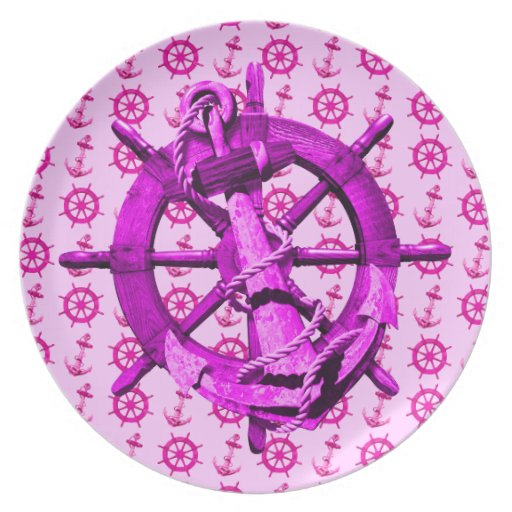 Pink Nautical Ships Wheel And Anchor Dinner Plate