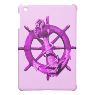 Pink Nautical Ships Wheel And Anchor iPad Mini Cover