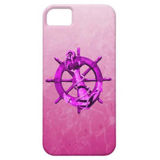 Pink Nautical Ships Wheel And Anchor iPhone SE/5/5s Case
